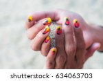 young hipster woman nails... | Shutterstock . vector #634063703