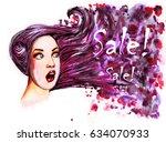 surprised woman face with pink... | Shutterstock . vector #634070933