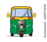 yellow   green color tuk tuk... | Shutterstock .eps vector #634071053