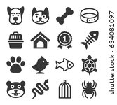 Stock vector pets icons set 634081097