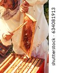 beekeeper collecting honey... | Shutterstock . vector #634081913