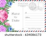 vintage postcard wedding... | Shutterstock .eps vector #634086173