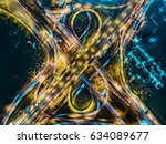 aerial view of traffic... | Shutterstock . vector #634089677