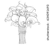 vector bouquet with calla lily... | Shutterstock .eps vector #634091693