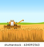 grain harvester combine work in ...   Shutterstock .eps vector #634092563