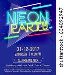 vector neon party abstract... | Shutterstock .eps vector #634092947