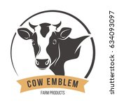 Stock vector cow head silhouette emblem logo label vector illustration 634093097