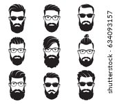 Set of vector bearded men faces hipsters with different haircuts, mustaches, beards. Silhouettes, avatars, heads, emblems, icons, labels. | Shutterstock vector #634093157