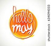 hello spring lettering. grange... | Shutterstock . vector #634094033