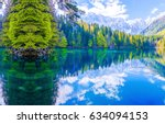 Mountain Forest Lake Reflectio...