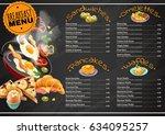 breakfast menu on black... | Shutterstock .eps vector #634095257