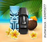 hawaiian sunny beach...   Shutterstock .eps vector #634095377