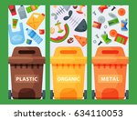 recycling garbage elements... | Shutterstock .eps vector #634110053