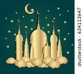 ramadan kareem greeting with... | Shutterstock .eps vector #634113647