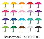 rainy day umbrella set | Shutterstock .eps vector #634118183