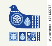abstract bird and floral...   Shutterstock .eps vector #634123787