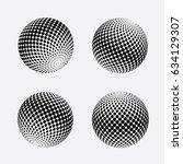 abstract halftone 3d sphere...   Shutterstock .eps vector #634129307