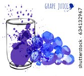 grape juice in glass and...   Shutterstock .eps vector #634132967