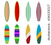 surfboard  set of colored... | Shutterstock .eps vector #634153217