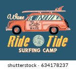 surfing artwork with a hippie... | Shutterstock .eps vector #634178237