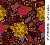 vector flower pattern. seamless ... | Shutterstock .eps vector #634181333