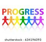 progress cut out paper people... | Shutterstock . vector #634196093