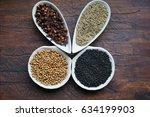 cumin  nigella sativa  cloves ... | Shutterstock . vector #634199903