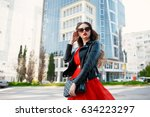 lifestyle fashion portrait of... | Shutterstock . vector #634223297