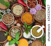 Small photo of Spice and herb sampler with fresh and dried herbs and spices. High in antioxidants and vitamins.