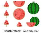 watermelon fresh slices. set of ... | Shutterstock .eps vector #634232657