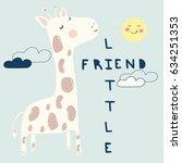 little giraffe illustration... | Shutterstock .eps vector #634251353