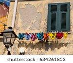 hanging underwear   colored... | Shutterstock . vector #634261853
