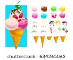 vector flat collection of tasty ...   Shutterstock .eps vector #634265063