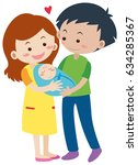 family with parents and newborn ... | Shutterstock .eps vector #634285367