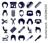 haircut icons set. set of 25... | Shutterstock .eps vector #634288103