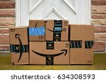 Small photo of HAGERSTOWN, MD, USA - MAY 5, 2017: Image of an Amazon packages. Amazon is an online company and is the largest retailer in the world.