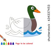 wild duck  the coloring book to ... | Shutterstock .eps vector #634337453