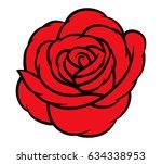 red rose isolated on white... | Shutterstock .eps vector #634338953