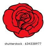 red rose isolated on white... | Shutterstock .eps vector #634338977