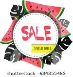 sale. special offer. summer... | Shutterstock .eps vector #634355483