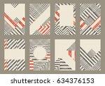 set of 8 trendy geometric... | Shutterstock .eps vector #634376153