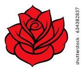 red rose isolated on white... | Shutterstock .eps vector #634382837