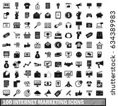 100 internet marketing icons... | Shutterstock . vector #634389983