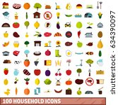 100 household icons set in flat ... | Shutterstock . vector #634390097