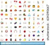 100 health icons set in cartoon ... | Shutterstock . vector #634390667