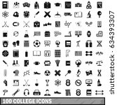 100 college icons set in simple ... | Shutterstock . vector #634393307