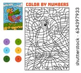 color by number  education game ... | Shutterstock .eps vector #634397933