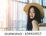asian long black hair woman... | Shutterstock . vector #634414517