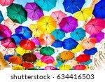 multi colored umbrellas... | Shutterstock . vector #634416503