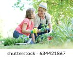 grandmother and granddaughter...   Shutterstock . vector #634421867